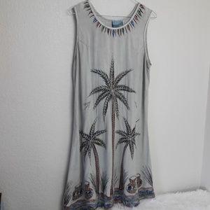 🔥India Boutique Boho Dress Palm Trees Cruise Isle
